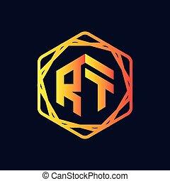 RT Initial letter hexagonal logo vector