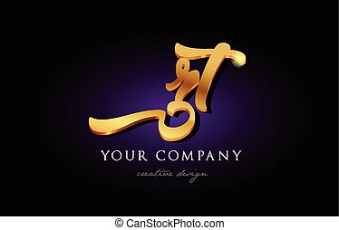 rt r t 3d gold golden alphabet letter metal logo icon design handwritten typography