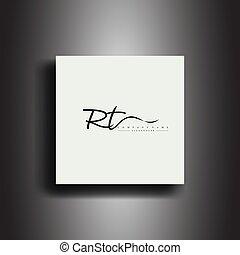 RT Signature style monogram.Calligraphic lettering icon and handwriting vector art design