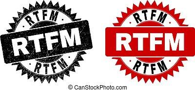 RTFM Black Rosette Watermark with Grunge Style