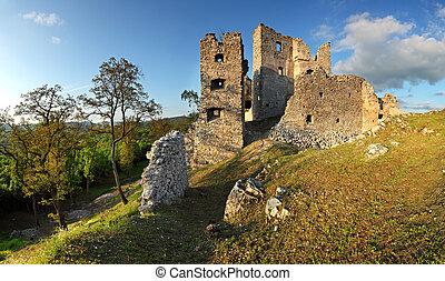 ruína, hrusov, castelo