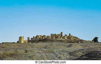 ruína velha, de, marib, em, yemen