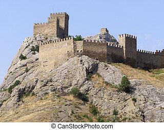 ruínas, céu, fortaleza, histórico, calor, história, antigas, capim, antigüidade, dia, alvenaria, antiguidade, deitando, pedras, arqueologia, verão, azul