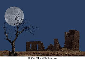 ruínas, com, árvore