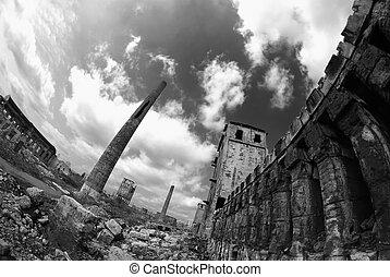 ruínas, de, a, industrial, empresa