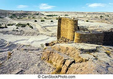 ruínas, de, antigas, histórico, represa, em, marib, yemen