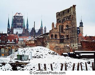 ruínas, de, cidade velha, em, gdansk, polônia