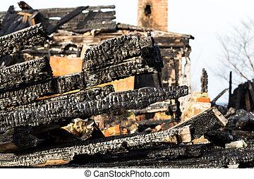 ruínas, e, restos, de, um, queimado, baixo, casa