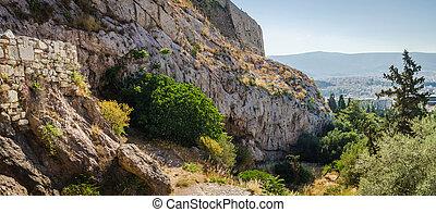 ruínas, greece., antiga, atenas, panorama