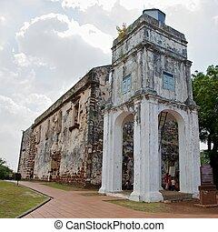 ruínas,  ST, Paul,  melacca, igreja