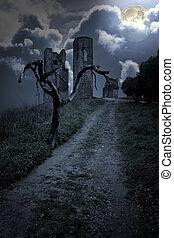 ruïnes, halloween, achtergrond