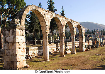 ruïnes, in, anjar, libanon