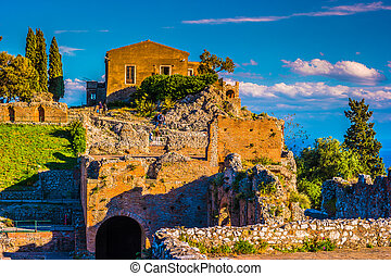 ruïnes, taormina, theater, sunset.
