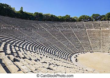 ruïnes, van, epidaurus, amphitheater, griekenland