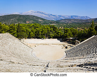 ruïnes, van, epidaurus, amphitheater
