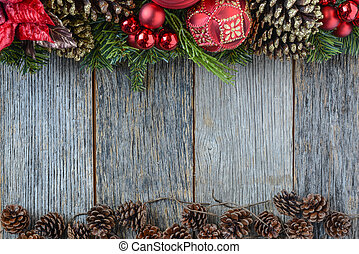 ru, drewniany, na, ozdoba, tło., ozdoby, boże narodzenie