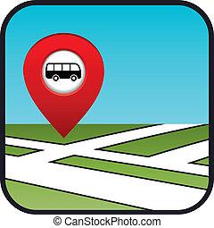 rua, ícone, ponteiro, mapa, stop., autocarro