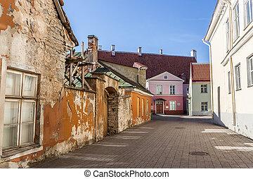 rua, antigas, centro, coloridos, tallinn