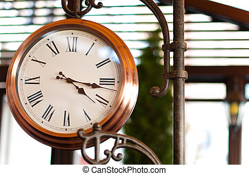 rua, antigas, relógio