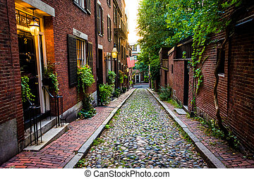 rua bolota, em, colina baliza, boston, massachusetts.