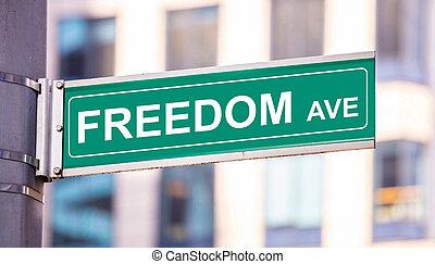 rua, cidade, edifícios, anenue, borrão, center., sinal, fundo, liberdade