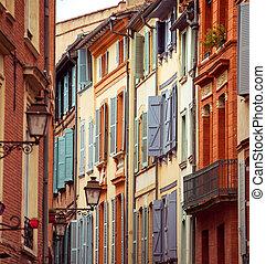 rua, com, antigas, edifícios, em, toulouse