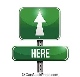 rua, desenho, aqui, ilustração, sinal