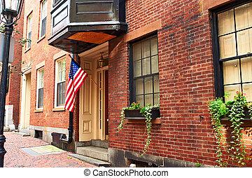 rua, em, colina baliza, vizinhança, boston