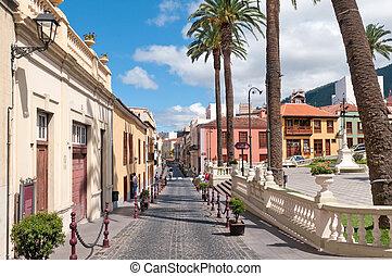 rua, em, espanha, la, orotava, ilhas canário