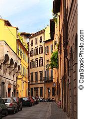 rua, em, florença, itália