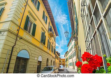 rua estreita, em, florença