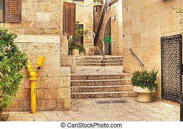 rua,  Israel,  Jerusalém, histórico, antigas, parte