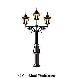 rua, lanterna, isolado, branco, vetorial