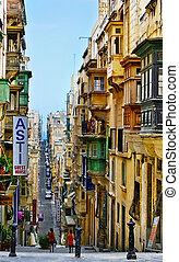rua, malta, valletta., típico