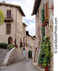 rua, medieval, assisi, italiano