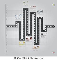 rua, negócio, &, infographic, desenho, modelo, estrada