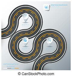 rua, negócio, &, sinal, infographic, tráfego, modelo, desenho, estrada