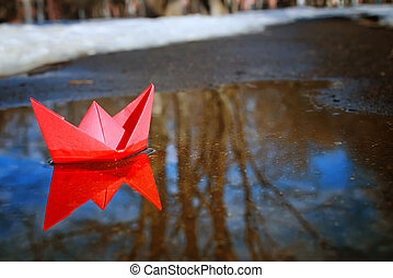 rua, primavera, tingido, papel, foto, bote