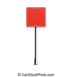 rua, quadrado, signpost, realístico, -, estrada vermelha, metal, sinal branco, mockup