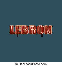 rua, signboard, ilustração, bandeira, luzes, vetorial, retro, vindima, lebron