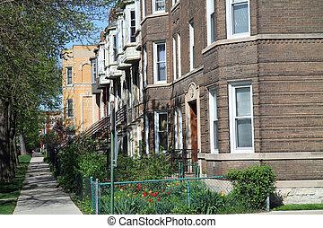 rua, típico, chicago