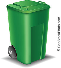 rua, verde, lata lixo