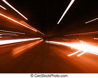 rua, vermelho, borrão