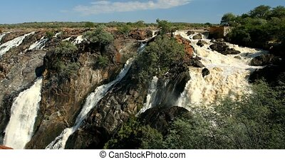 beautiful Ruacana Falls on the Kunene River in Northern Namibia and Southern Angola, Africa wilderness landscape