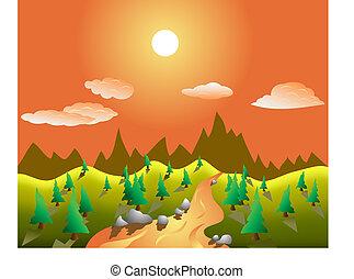 rual, vetorial, paisagem