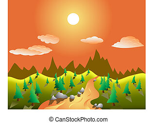 rual, wektor, krajobraz