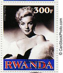 ruanda, -, cirka, 2003, :, egy, bélyeg, nyomtatott, alatt,...