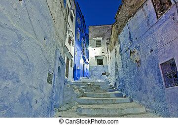 ruas cidade, chefchaouen, noturna, marrocos