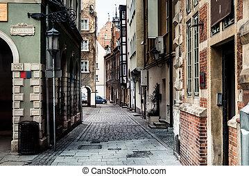 ruas, em, gdansk, cidade
