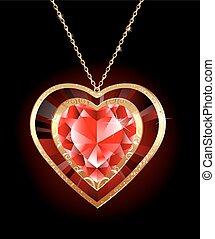 rubí, corazón, en, un, cadena de oro